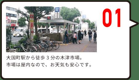 01 大国町駅から徒歩3分の木津市場。 市場は屋内なので、お天気も安心です。