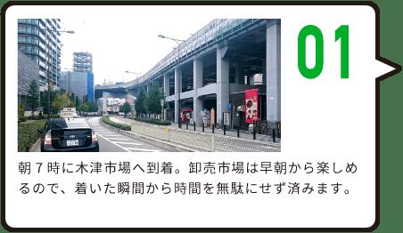 01 朝7時に木津市場へ到着。卸売市場は早朝から楽しめるので、着いた瞬間から時間を無駄にせず済みます。